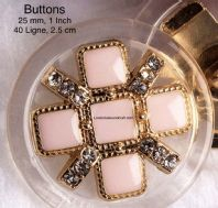 Pale pink buttons,  Pink Enamel,buttons, Gold metal. Free worldwide shipping (2) (3) (4) (5)